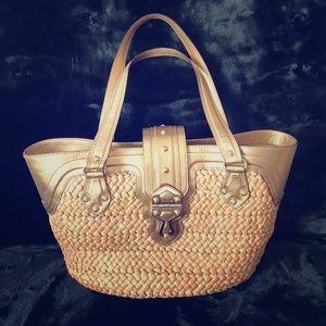 Michael Kors Gold Leather and Raffia bag